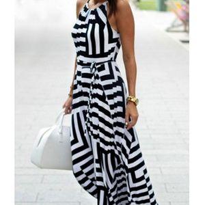 Halter Maxi Dress - White Black / Sleeveless